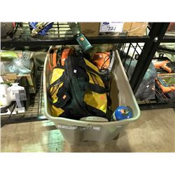 BIN OF ASSORTED POWER TOOLS AND CHAIN HOIST