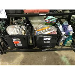 FLOORING CLEANER AND 2 BINS OF ASSORTED PAINT AND HARDWARE PRODUCTS (BLACK BINS NOT INCLUDED)