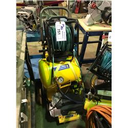 POWERFIST 4,6 GALLON 2 HP TWIN STACK AIR COMPRESSOR, WITH 7 GALLON PORTABLE AIR TANK AND AIR HOSE