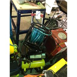 POWERFIST 2 GALLON HORIZONTAL AIR COMPRESSOR WITH AIR LINE HOSE REEL AND PORTABLE DOLLY