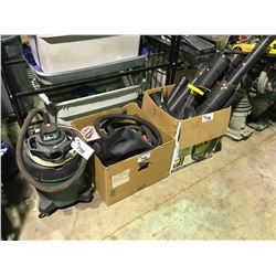 2.0 HP SHOP VAC, BOX OG LEAF BLOWERS AND SHOP VAC HOSES, BOX OF LEAF BLOWER ATTACHMENTS