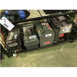 2 TOOLBOXES, PROPANE PORTABLE BBQ TOOLBOX STOOL COMBO