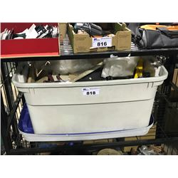BIN OF ASSORTED PAINT BRUSHES , TUBING , POWER WASHER PARTS AND MISC CONTENTS