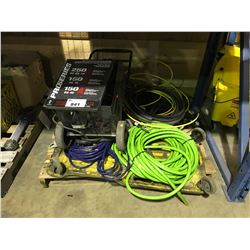 PALLET WITH BATTERY CHARGER, ASSORTED AIR HOSE, CREEPER & MORE