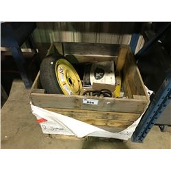 BOX OF ASSORTED HARDWARE, WHEEL, WIRING & MORE