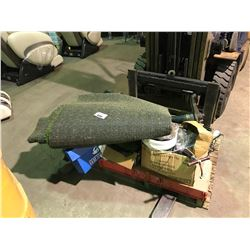PALLET OF YARD TOOLS, FOLDING TABLE & ASTRO TURF