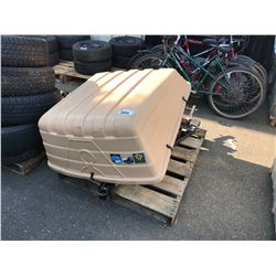 PALLET OF POWER FIST TRAILER HITCH, LIGHTS & CAR TOPPER
