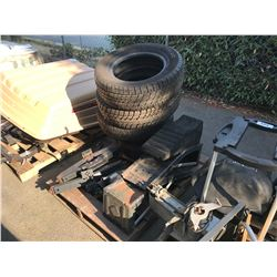 PALLET OF CAR RAMPS, CAR TIRES & JACKS