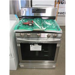 NEW STAINLESS/BLACK SAMSUNG CERAMIC TOP GAS SELF CLEANING STOVE