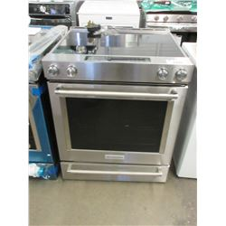 STAINLESS KITCHENAID CERAMIC TOP STOVE WITH BOTTOM WARMER & RACK