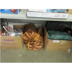 LEATHER HAND BAGS/BOX OF MISC CRAFTING SUPPLY/BOX OF CHAIR COVERS/ETC