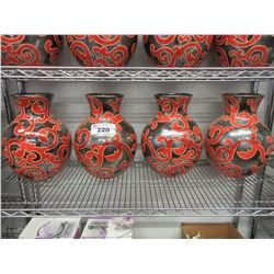4 NEW RED/SILVER FLOWER POTS