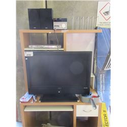 COMPUTER DESK/VIEWSONIC TV/STEREO
