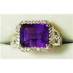 STERLING SILVER AMETHYST MEN'S  RING. APPROX RETAIL $500