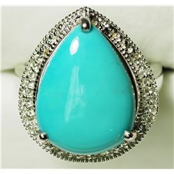 STERLING SILVER TURQUOISE WITH CZ RING . APPROX RETAIL $300