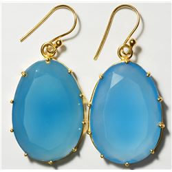 STERLING SILVER GOLD PLATED CHALCEDONY EARRINGS. APPROX RETAIL $250