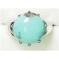 STERLING SILVER GENUINE TURQUOISE RING. APPROX RETAIL $200