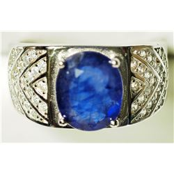 STERLING SILVER CZ MEN'S SAPPHIRE RING(6CT) . APPROX RETAIL $600