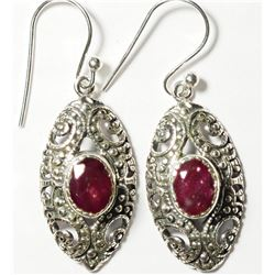 STERLING SILVER RUBY ANTIQUE STYLE EARRINGS. APPROX RETAIL $250