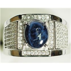 STERLING SILVER CZ MEN'S SAPPHIRE RING(5CT). APPROX RETAIL $600/ STONE IS LOOSE