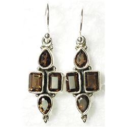 STERLING SILVER SMOKEY QUARTZ EARRINGS. APPROX RETAIL $180