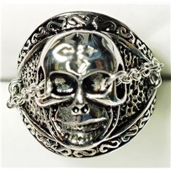 STERLING SILVER 'GRIM REAPER' SHAPED MEN'S RING. APPROX RETAIL $100