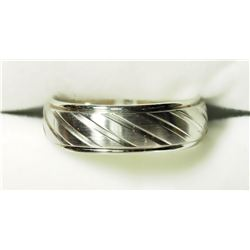 STERLING STEEL DIAGONAL STRIPE BAND (7MM) MEN'S RING. APPROX RETAIL $100