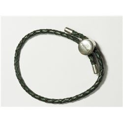 STERLING SILVER MEN'S BROWN LEATHER BRACELET
