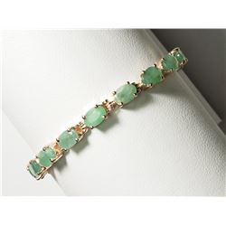 STERLING SILVER EMERALD(7.70CT) TENNIS BRACELET, HANDCRAFTED. APPROX. RETAIL $1300