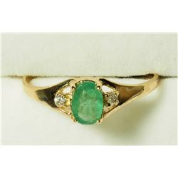 10K EMERALD(0.34CT) 2 DIAMOND RING, MADE IN CANADA . APPRAISED VALUE $1010