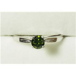 10K WHITE GOLD GREEN DIAMOND(0.36CT) RING, MADE IN CANADA. APPRAISED VALUE $1605