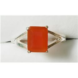 STERLING SILVER CARNELIAN RING. APPROX RETAIL $200
