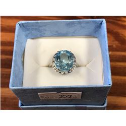 STERLING SILVER BLUE TOPAZ & DIAMOND SOLITAIRE RING WITH CERTIFICATE OF AUTHENTICITY