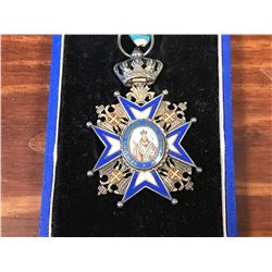 VICTORIAN ERA RELIGIOUS MEDAL DATED 1883 WITH CASE MADE IN PARIS
