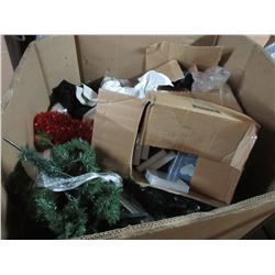 LARGE BOX OF CLOTHES & MISC