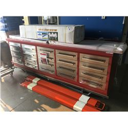 BRAND NEW 10 FT HEAVY DUTY 20 DRAWER METAL WORK BENCH WITH 40 INCH HANGING WALL