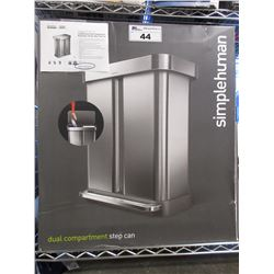 SIMPLEHUMAN STAINLESS DUAL COMPARTMENT 58L STEP CAN