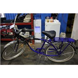 BLUE AND BLACK SHARPER IMAGE ELECTRIC BIKE *NO BATTERY*