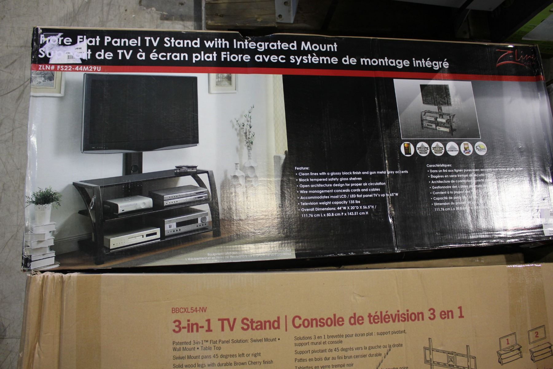 Z Line 3 Tier Glass Tv Stand With Rear Mount In Box