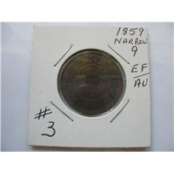 1859 Canadian Large Cent - Narrow 9  -  High Grade