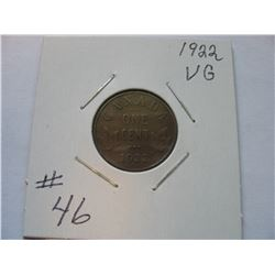 1922 Canadian Small Cent  -  Scarce Date