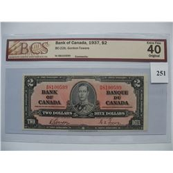 1937  $2.00 Bill   Gordon/Towers  -  BCS Graded Note  EF40