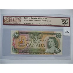 1979  $20.00 Bill   Crow/Bouey -  BCS Graded - Error Note