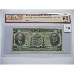 1935  $5.00 Bill -  Royal Bank of Canada -  BCS Graded  AU-50
