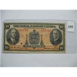1935  $10.00 Bill  -  Royal Bank of Canada