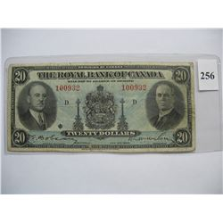 1935  $20.00 Bill  -  Royal Bank of Canada