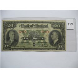 1938  $20.00 Bill  -  Bank of Montreal