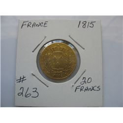 1815 France  20 Franc Gold Coin - Louis 18th