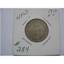 Newfoundland  -  1917  25 Cent Piece
