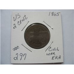 U.S.  1865 2 Cent Piece   -  Civil War Era